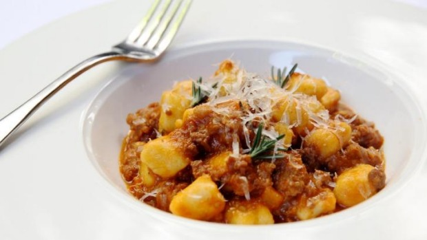 Gnocchi with pork and fennel ragu and shaved pecorino served at The Welcome Hotel.