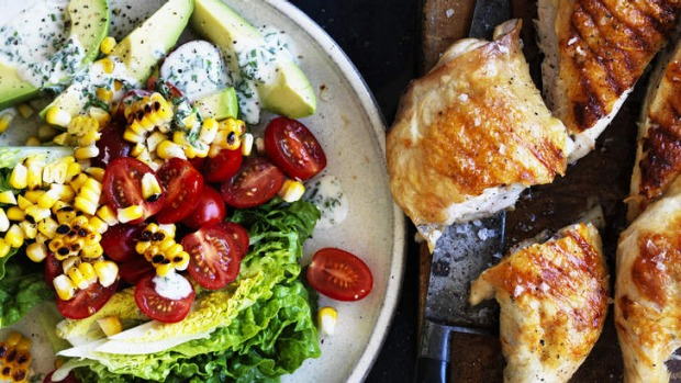 Barbecue chicken, corn and baby cos salad with ranch dressing