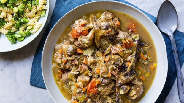 Meltingly tender: Veal osso buco with artichokes.
