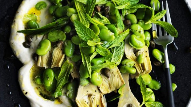 Seasonal side: Broad beans, green olives and yoghurt.