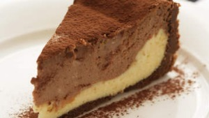 Jill Dupleix's two-tone chocolate swirl cheesecake.