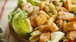 Poached salmon pasta salad is a lovely option for the warmer months.
