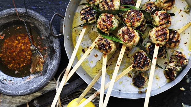 Give steak a barbie break: Pork and lemon meatball skewers.