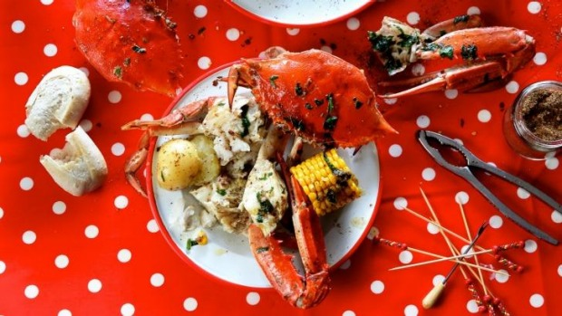 Cracking good fun: Crab boil from the American south is Will Balleau's hit dish.