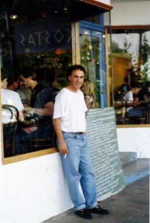 Kosta Talimanidis at his original Lorne taverna, Kosta's, in 1991.