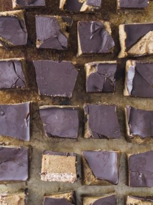 Date and cashew caramel chocolate slice.