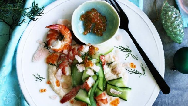 Jill Dupleix's salmon taramasalata with prawns and prawn crackers.