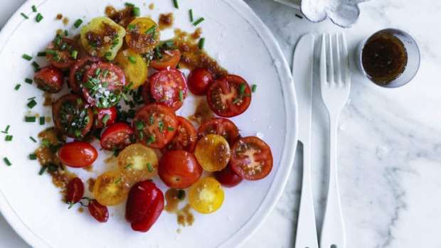 The tangy onion dressing complements the sweet cherry tomatoes.