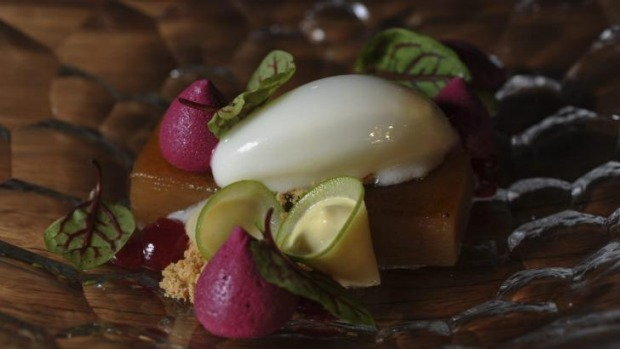 Granny Smith apple, fromage blanc, almond, raspberry and red beetroot.