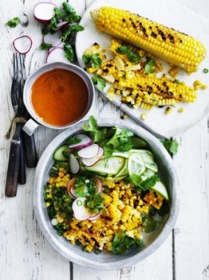 Grilled corn with cucumber, radish and coriander with smoked chilli ...