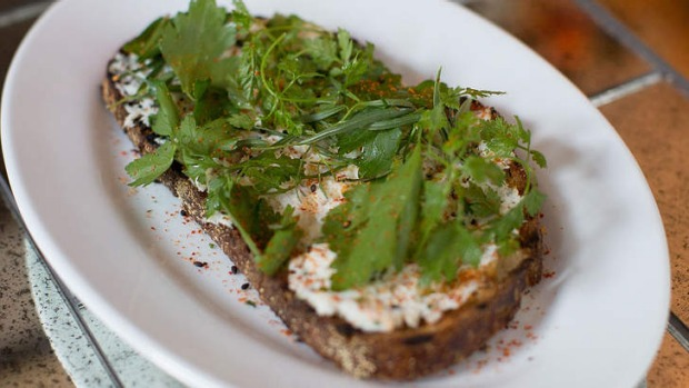 Crab on toast with herb salad.