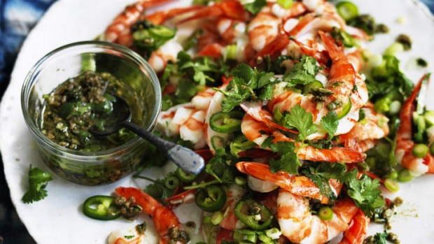 A plate of tingling prawns can be part an Asian-themed feast.