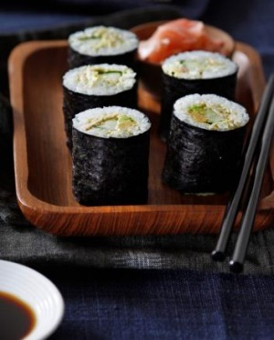 Avoid drenching sushi rolls in soy sauce.