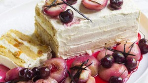 Peach and mascarpone torte