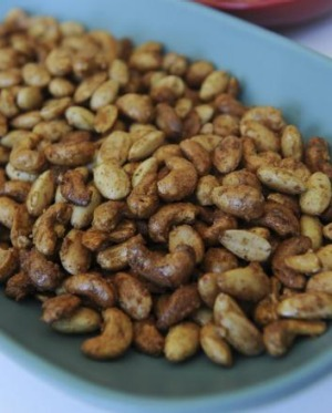 Christobel's spicy nuts, photographed on Bison Home plates.