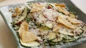 Zucchini with lime, pecorino and tortillas.