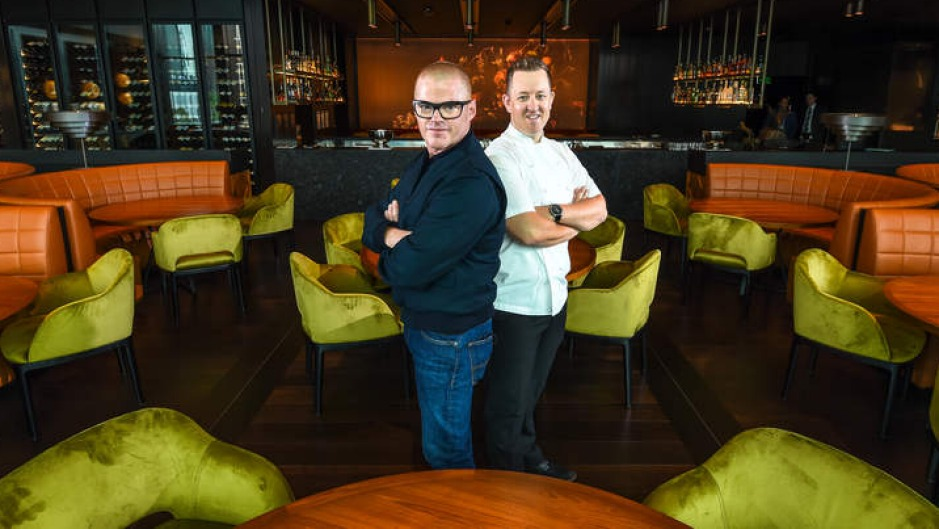 Heston Blumenthal (left) and chef Ashley Palmer-Watts at Dinner.