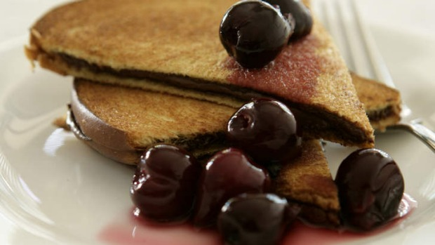 A Nutella and cherry breakfast fix.