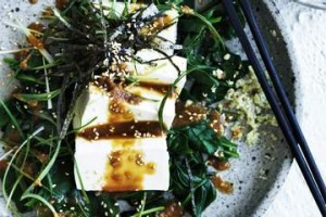 Cold tofu and spinach salad.