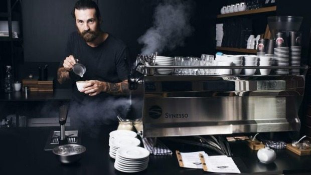 Barista Sean McManus of Barefoot Coffee Traders in Manly.