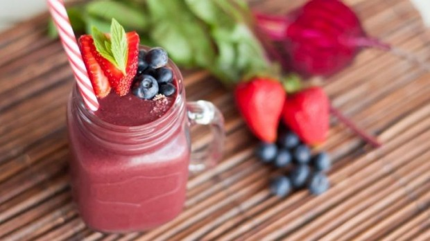 The beet and berry blast smoothie.