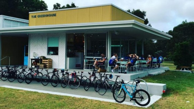 Cafe and bicycle-buff hangout, The Greenhouse in Centennial Park.