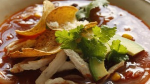 Mexican chicken soup with nachos.