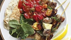 Lamb and haloumi skewers with fast tomato sugo.