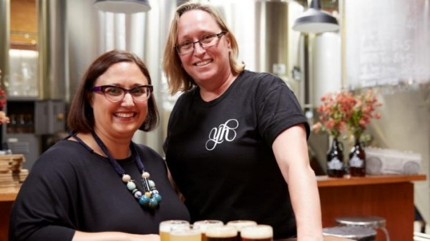 Young Henrys' brewer Sam Fuss with AGNSW senior coordinator of public program Josephine Touma. The pair have ...