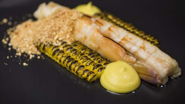 Flavours pop: Prawns, char-grilled corn, miso corn butter and curry oil.