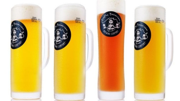 "The Bavarian Bier Cafe's new line of locally brewed beer, ""The Crafty Bavarian""."