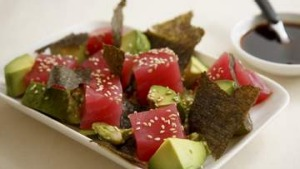 Tuna Sashimi with avocado and ponzu dressing
