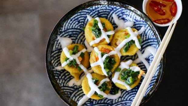 Banh Khot (crispy savoury coconut and tumeric flavoured mini pancakes with prawn).