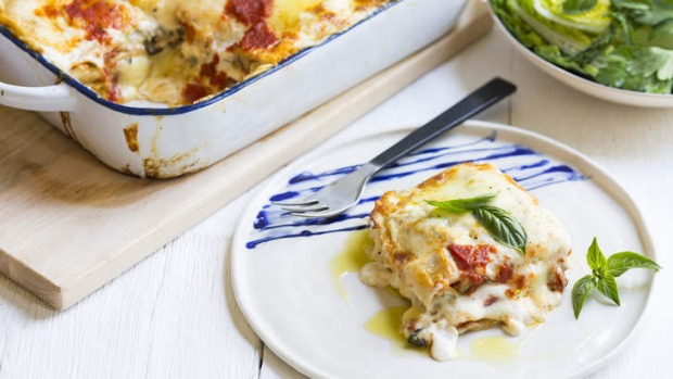 Four-cheese and summer vegetable lasagne.