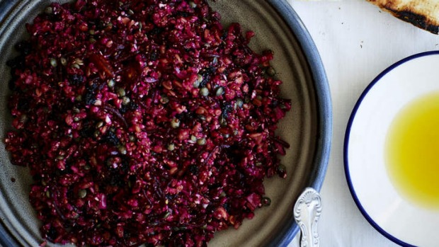Farro, quinoa, sprouted lentils, raw cauliflower, almond, beetroot and smoked yoghurt salad.