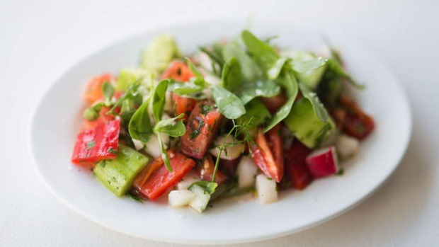 Shepherd's salad: diced tomato, onion and radish with purslane.
