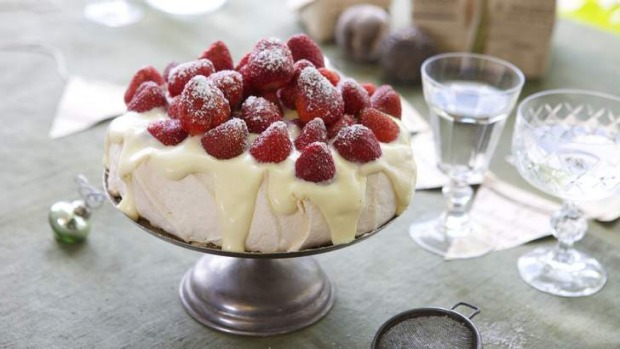Adam Liaw's surefire pavlova with white chocolate cream.