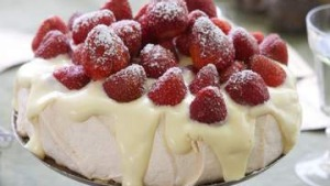 Surefire pavlova with white chocolate cream and strawberries.