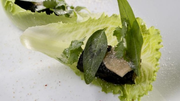 Blood pudding served in a cosberg lettuce leaf at Anchovy.