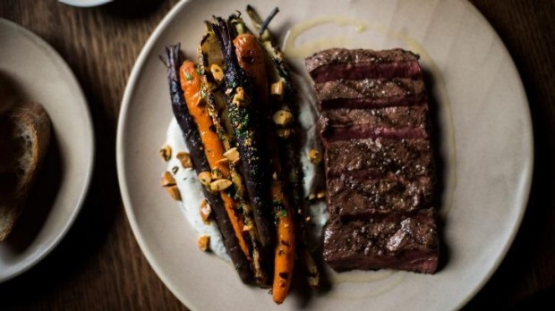 Go-to dish: Flat iron steak with carrots and goat's curd.