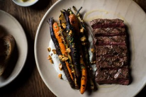 Flat iron steak with carrots and labna at the Fitzroy Town Hall Hotel.