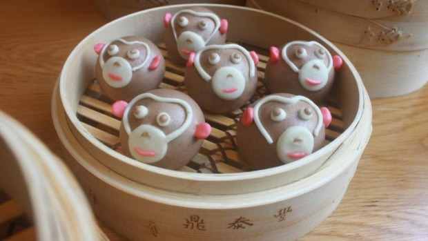 Din Tai Fung is celebrating the year of the monkey with monkey-shaped choc-banana buns.