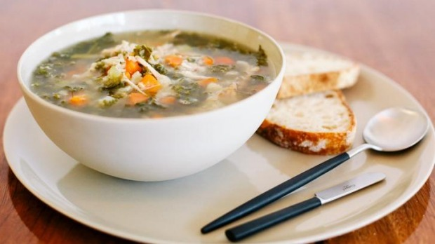 Chunky chicken and veggie soup