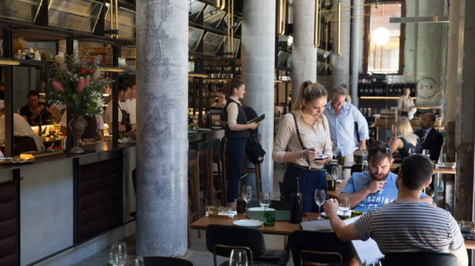 Brasserie buzz: Kensington Street Social occupies a high-ceilinged space inside the Old Clare Hotel, Chippendale.