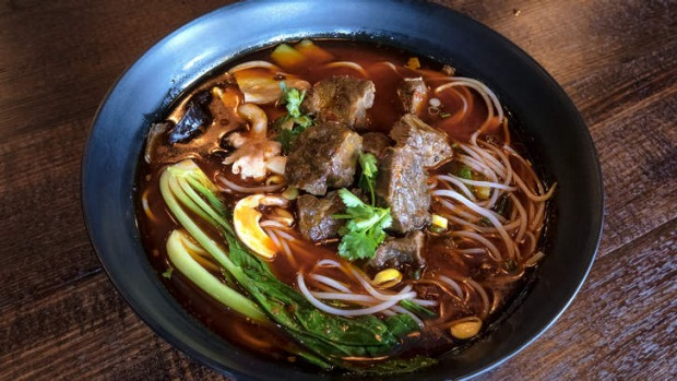 Spicy beef noodle soup.