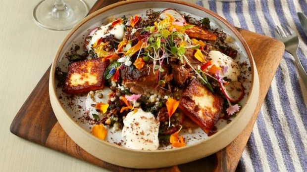 Israeli cous cous and lentil salad with haloumi and slow-cooked lamb.