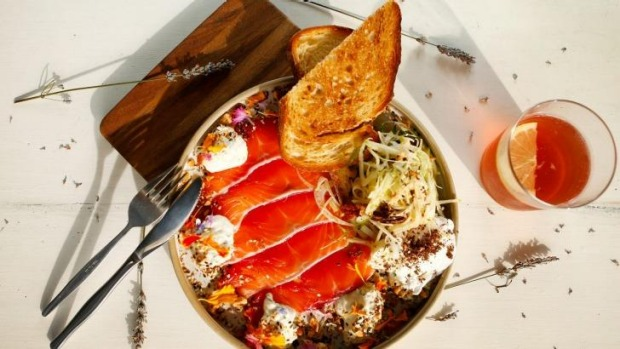 The beetroot-cured salmon looks too busy for its own good, but it works.