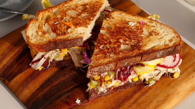 Roast chicken sandwich with sweetcorn and radicchio. Photo: Daniel ...