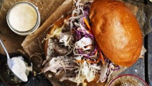 Pulled pork and coleslaw burgers with chipotle mayonnaise.