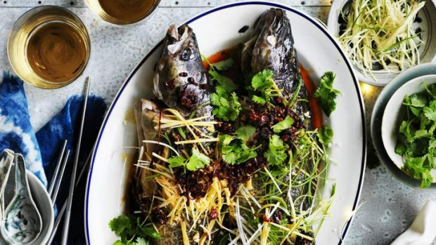 Steamed Murray cod with red chilli oil.